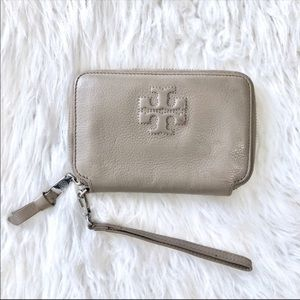Tory Burch Taupe Pebbled Leather Wristlet Wallet
